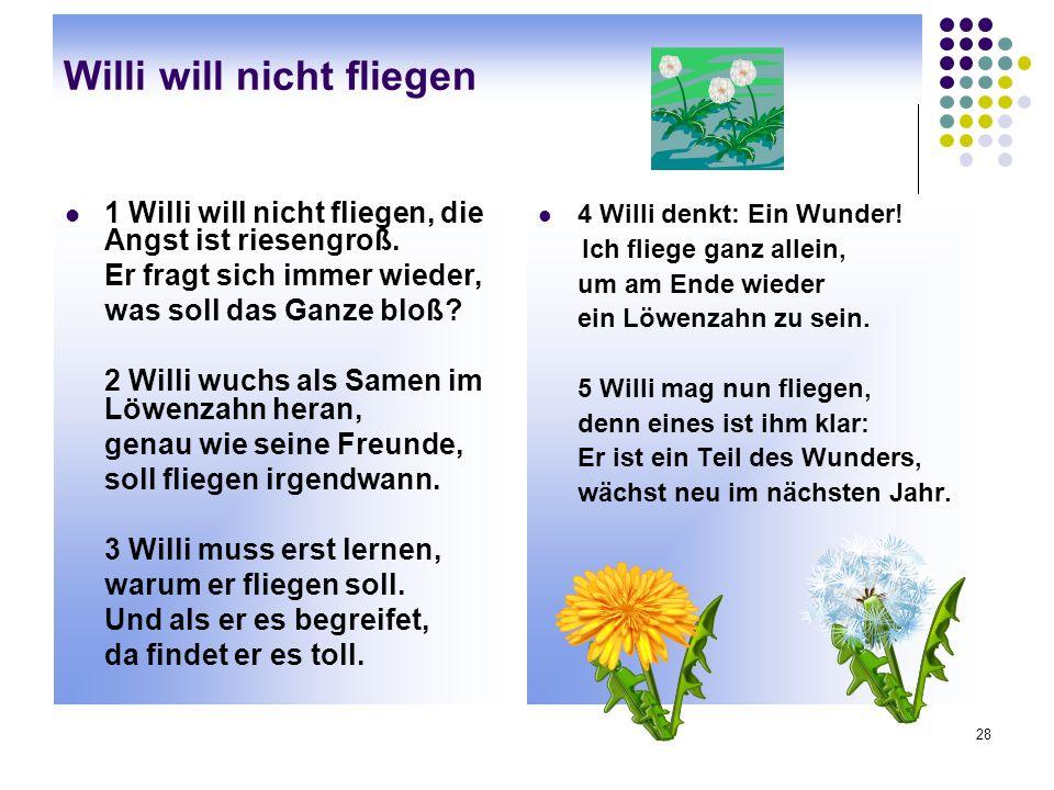 28 Willi will nicht fliegen 1 Willi will nicht fliegen, die Angst ist riesengroß.