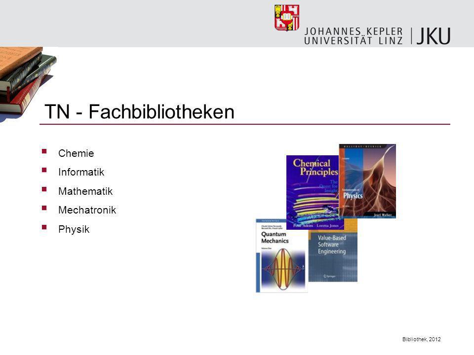 Bibliothek, 2012 Zeitschriften, Zeitungen Lexika, Wörterbücher Gesetzestexte Nicht entlehnbar sind: In der Hauptbibliothek gibt es 2 Farbscanner und 4 Kopiergeräte.