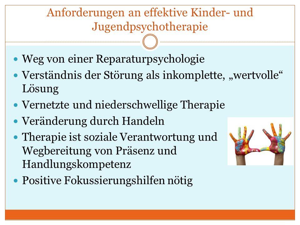 Anforderungen an effektive Kinder- und Jugendpsychotherapie Weg von einer Reparaturpsychologie Verständnis der Störung als inkomplette, wertvolle Lösu