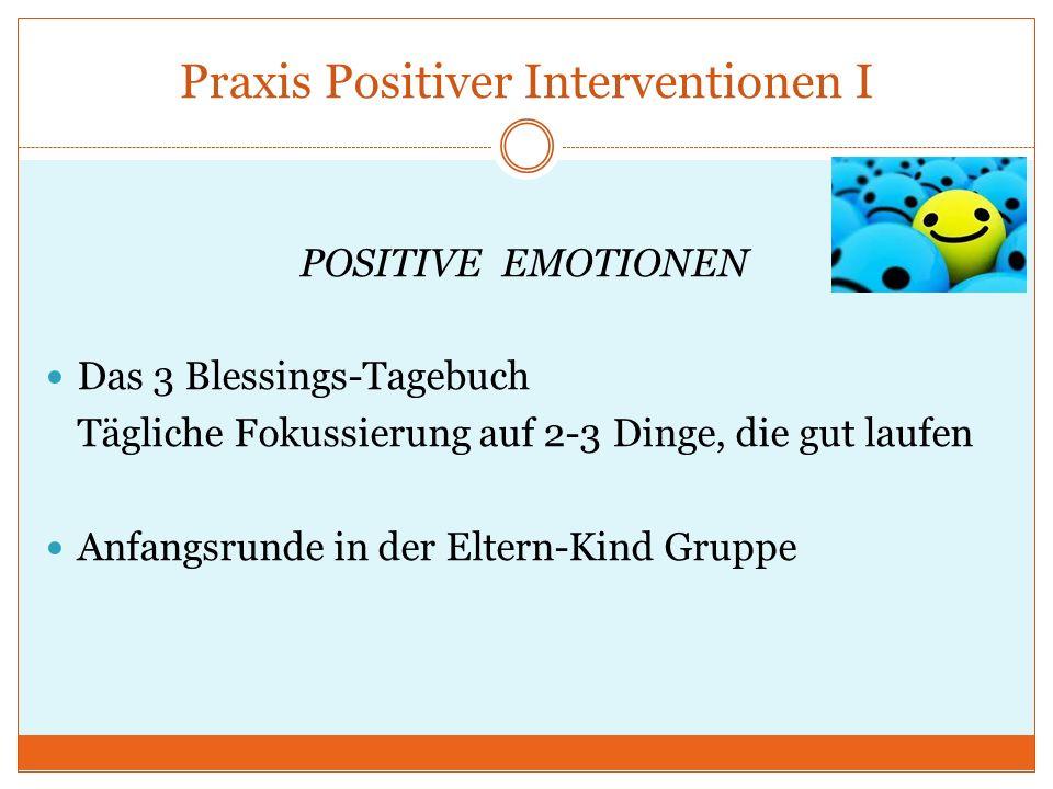 Praxis Positiver Interventionen I POSITIVE EMOTIONEN Das 3 Blessings-Tagebuch Tägliche Fokussierung auf 2-3 Dinge, die gut laufen Anfangsrunde in der