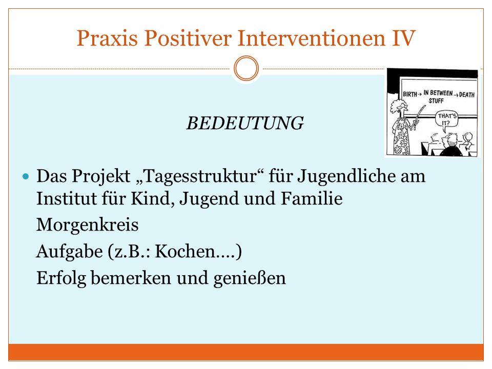 Praxis Positiver Interventionen IV BEDEUTUNG Das Projekt Tagesstruktur für Jugendliche am Institut für Kind, Jugend und Familie Morgenkreis Aufgabe (z