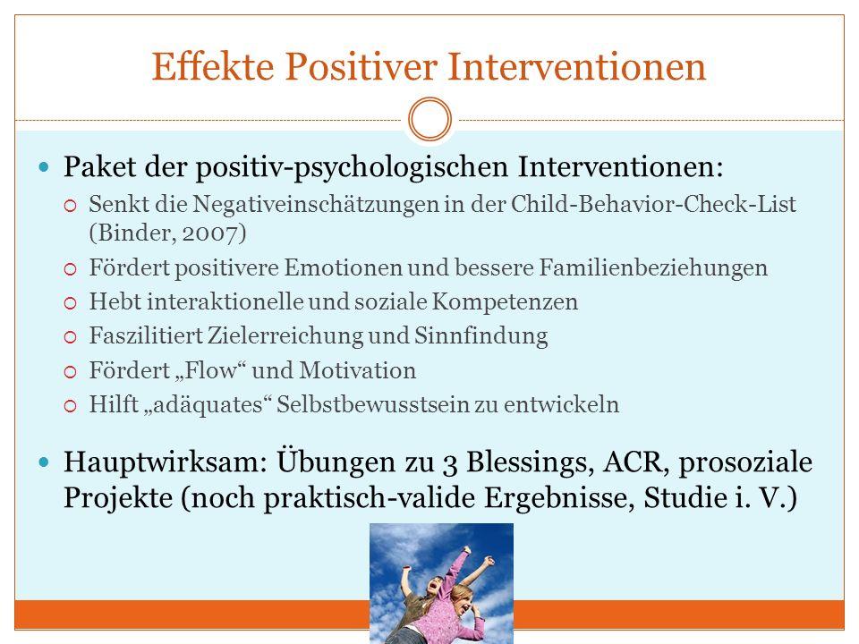 Effekte Positiver Interventionen Paket der positiv-psychologischen Interventionen: Senkt die Negativeinschätzungen in der Child-Behavior-Check-List (B