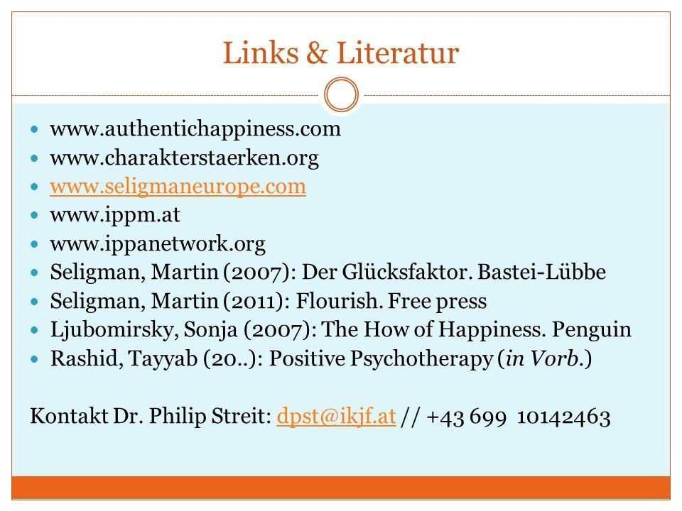 Links & Literatur www.authentichappiness.com www.charakterstaerken.org www.seligmaneurope.com www.ippm.at www.ippanetwork.org Seligman, Martin (2007):