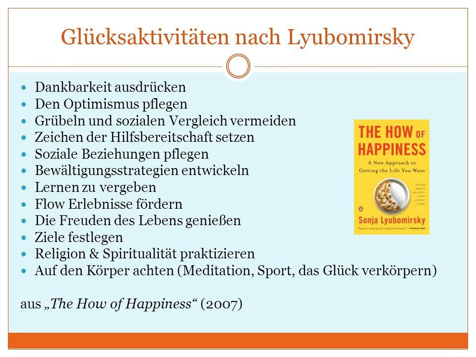 Glücksaktivitäten nach Lyubomirsky Dankbarkeit ausdrücken Den Optimismus pflegen Grübeln und sozialen Vergleich vermeiden Zeichen der Hilfsbereitschaf