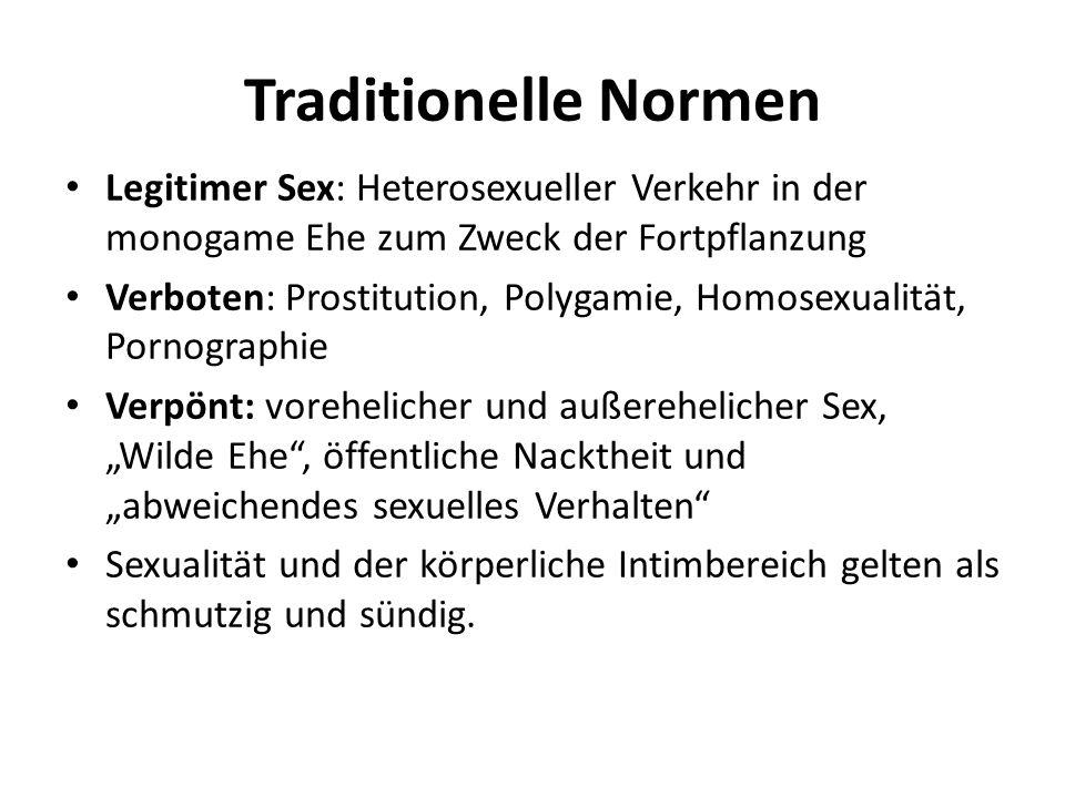 Traditionelle Normen Legitimer Sex: Heterosexueller Verkehr in der monogame Ehe zum Zweck der Fortpflanzung Verboten: Prostitution, Polygamie, Homosex