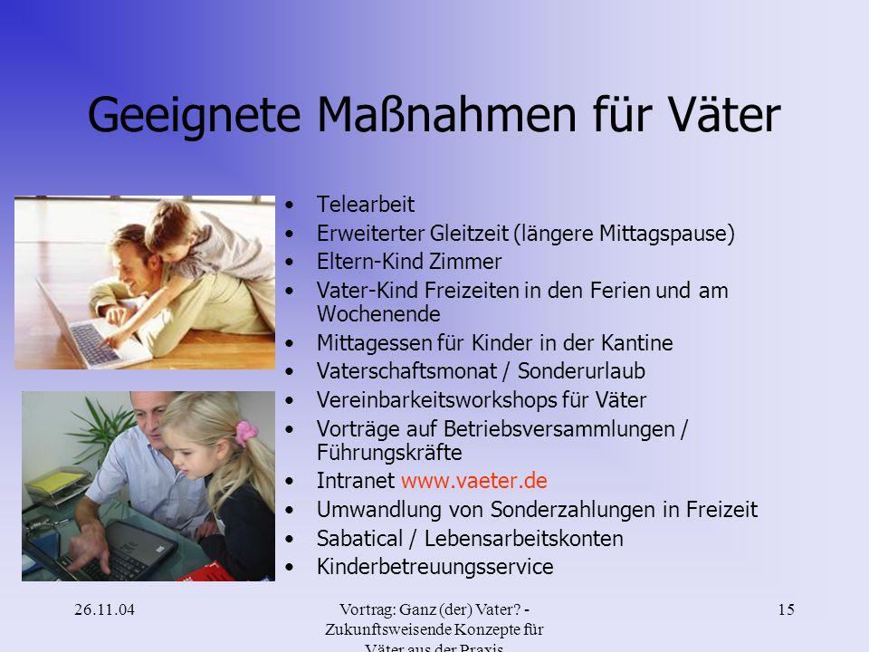 26.11.04Vortrag: Ganz (der) Vater? - Zukunftsweisende Konzepte für Väter aus der Praxis 14 Maßnahmen für bessere Vereinbarkeit