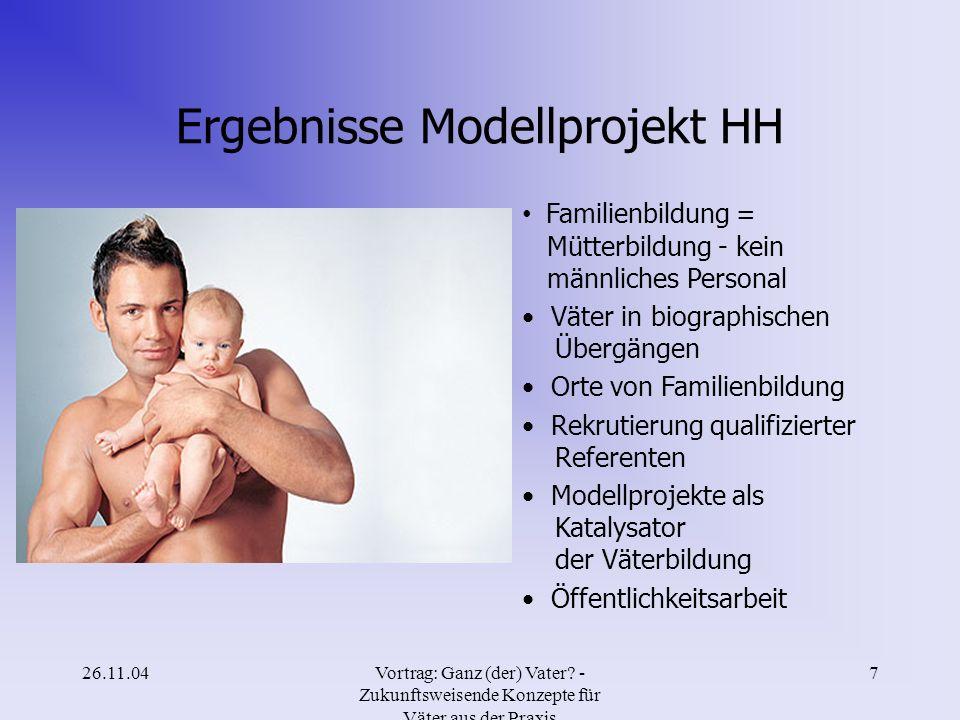 26.11.04Vortrag: Ganz (der) Vater? - Zukunftsweisende Konzepte für Väter aus der Praxis 6 Gründe für die Teilnahme an Väterkursen