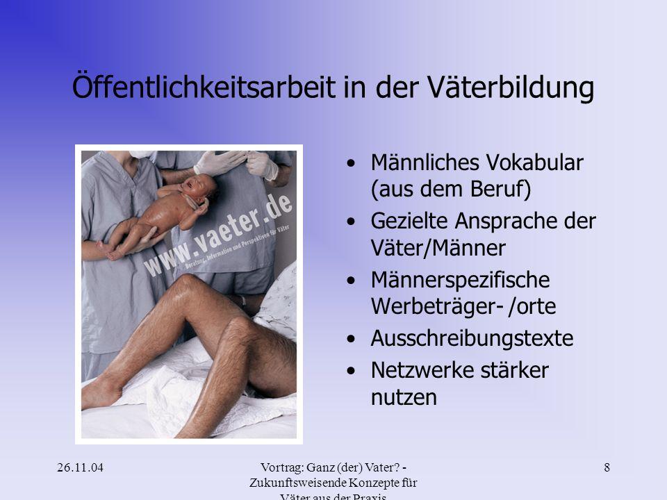 26.11.04Vortrag: Ganz (der) Vater? - Zukunftsweisende Konzepte für Väter aus der Praxis 7 Ergebnisse Modellprojekt HH Familienbildung = Mütterbildung