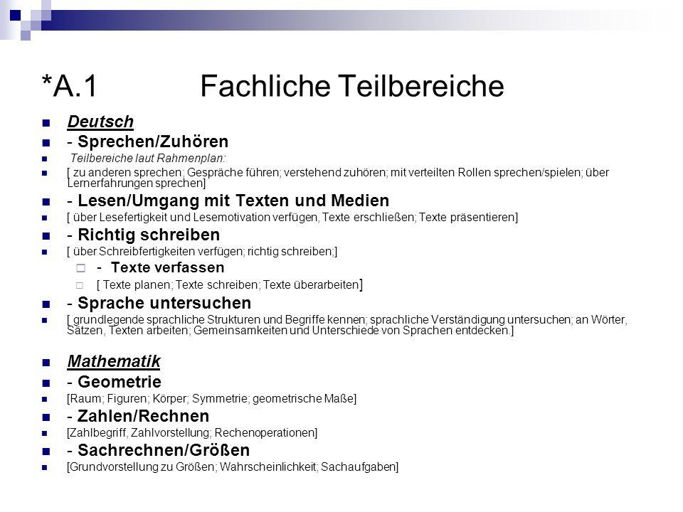 *A.1 Fachliche Teilbereiche Deutsch - Sprechen/Zuhören Teilbereiche laut Rahmenplan: [ zu anderen sprechen; Gespräche führen; verstehend zuhören; mit
