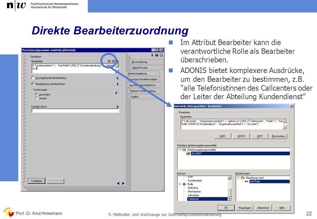 Prof. Dr. Knut Hinkelmann 22 5. Methoden und Werkzeuge zur Geschäftsprozessmodellierung Direkte Bearbeiterzuordnung Im Attribut Bearbeiter kann die ve