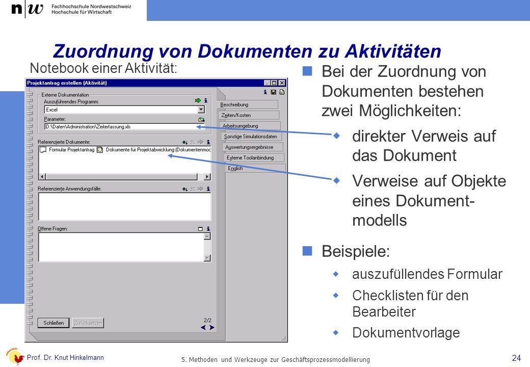 Prof. Dr. Knut Hinkelmann 24 5. Methoden und Werkzeuge zur Geschäftsprozessmodellierung Zuordnung von Dokumenten zu Aktivitäten Bei der Zuordnung von