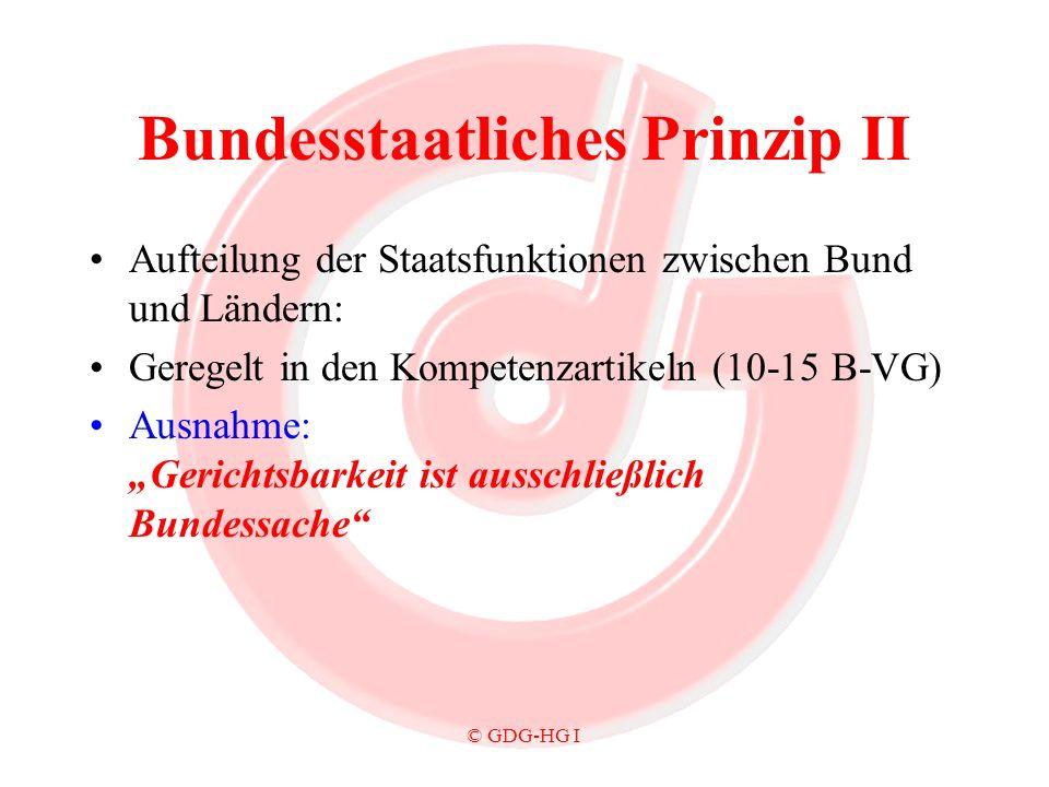 © GDG-HG I Bundesstaatliches Prinzip II Aufteilung der Staatsfunktionen zwischen Bund und Ländern: Geregelt in den Kompetenzartikeln (10-15 B-VG) Ausn
