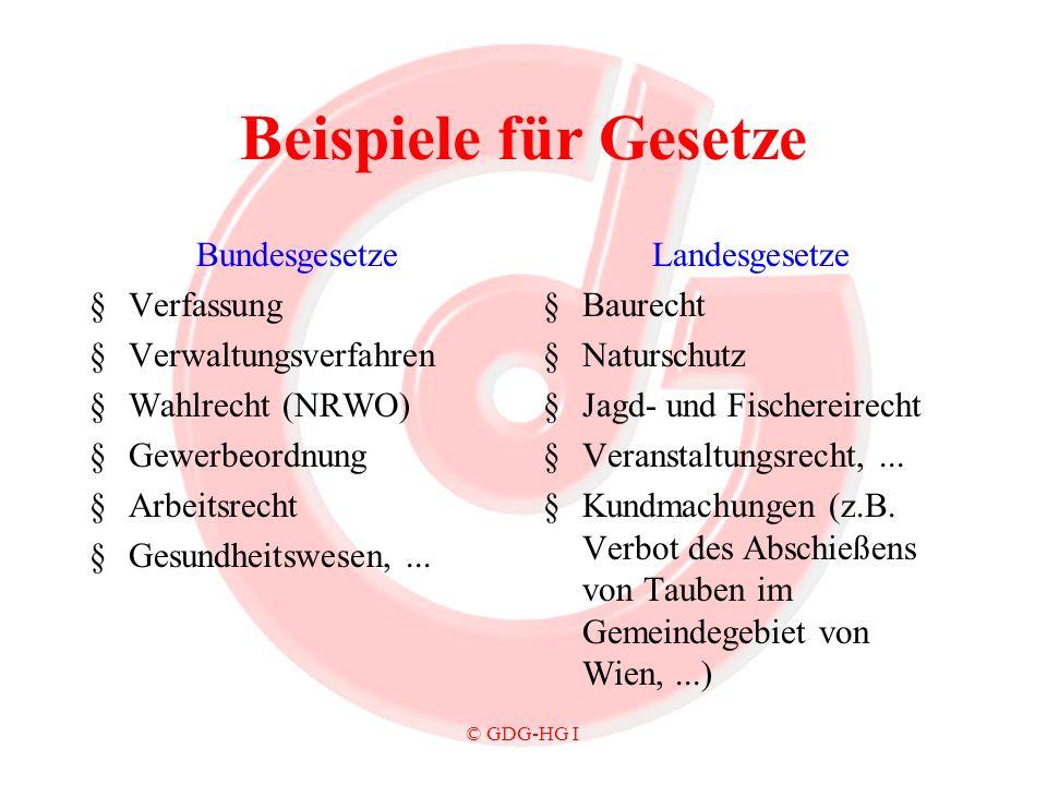 © GDG-HG I Beispiele für Gesetze Bundesgesetze §Verfassung §Verwaltungsverfahren §Wahlrecht (NRWO) §Gewerbeordnung §Arbeitsrecht §Gesundheitswesen,...