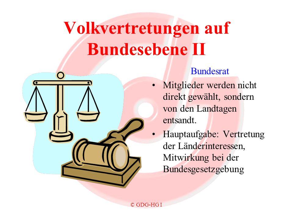 © GDG-HG I Volkvertretungen auf Bundesebene II Bundesrat Mitglieder werden nicht direkt gewählt, sondern von den Landtagen entsandt. Hauptaufgabe: Ver