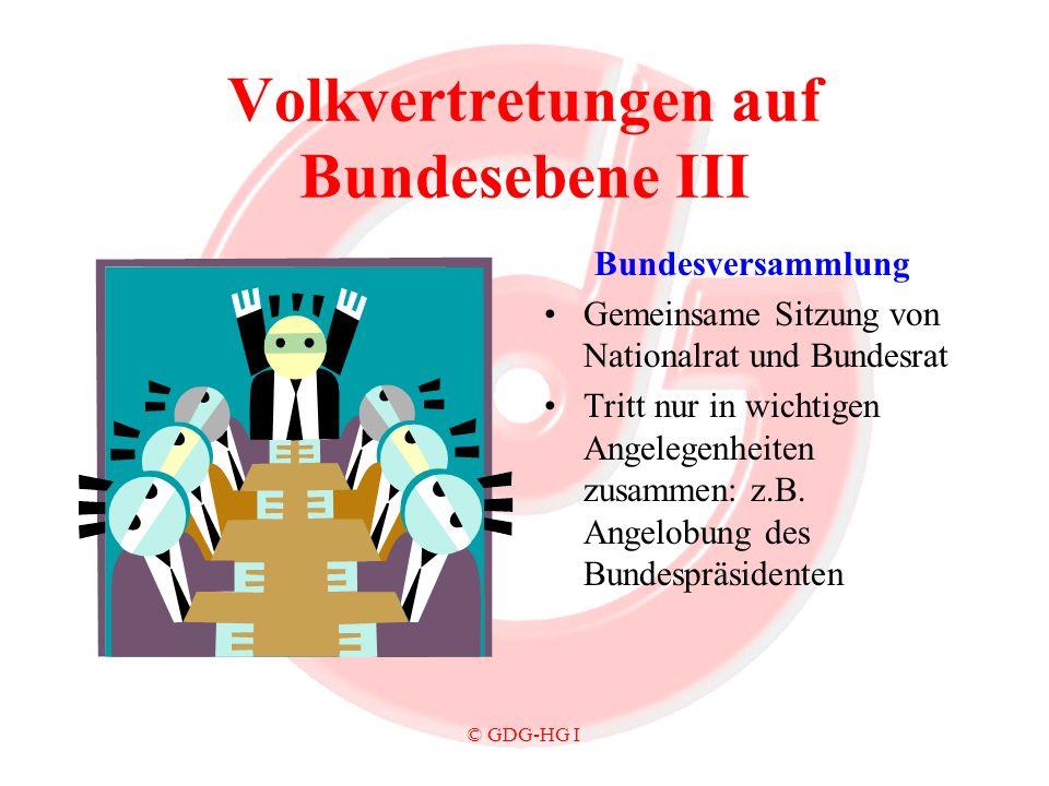 © GDG-HG I Volkvertretungen auf Bundesebene III Bundesversammlung Gemeinsame Sitzung von Nationalrat und Bundesrat Tritt nur in wichtigen Angelegenhei