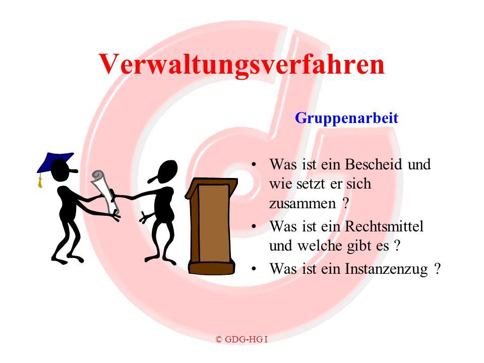 © GDG-HG I Verwaltungsverfahren Gruppenarbeit Was ist ein Bescheid und wie setzt er sich zusammen ? Was ist ein Rechtsmittel und welche gibt es ? Was
