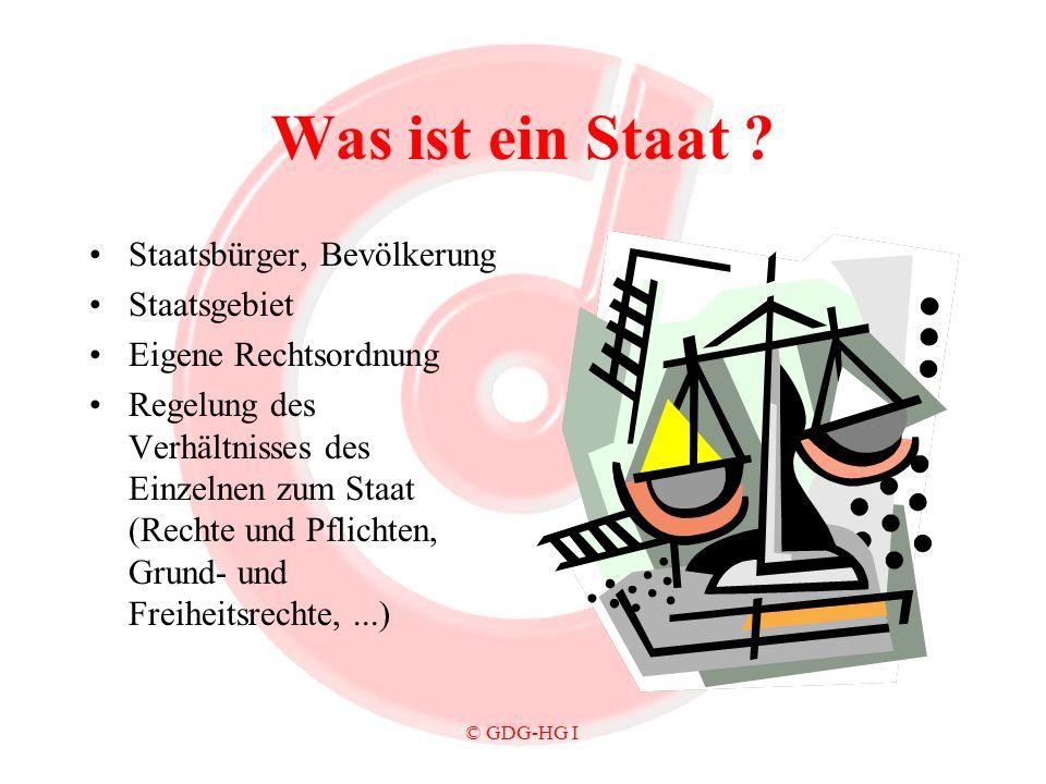 © GDG-HG I Was ist ein Staat ? Staatsbürger, Bevölkerung Staatsgebiet Eigene Rechtsordnung Regelung des Verhältnisses des Einzelnen zum Staat (Rechte