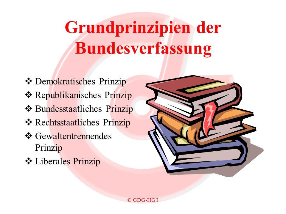 © GDG-HG I Grundprinzipien der Bundesverfassung Demokratisches Prinzip Republikanisches Prinzip Bundesstaatliches Prinzip Rechtsstaatliches Prinzip Ge
