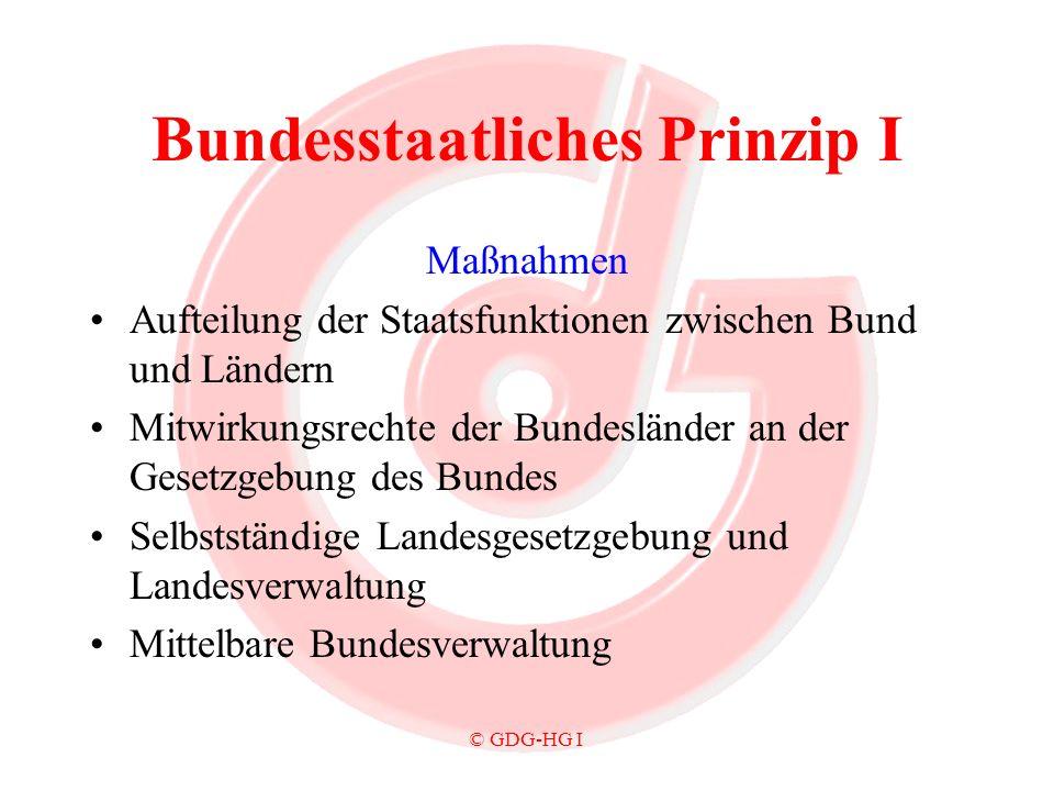 © GDG-HG I Bundesstaatliches Prinzip I Maßnahmen Aufteilung der Staatsfunktionen zwischen Bund und Ländern Mitwirkungsrechte der Bundesländer an der G