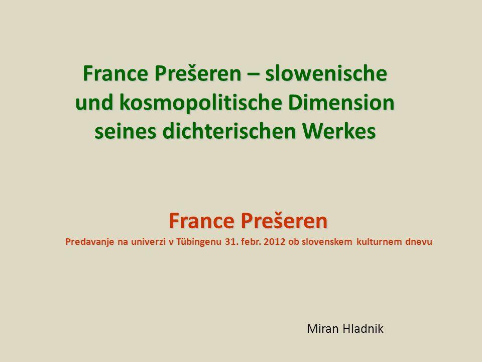 France Prešeren Predavanje na univerzi v Tübingenu 31.