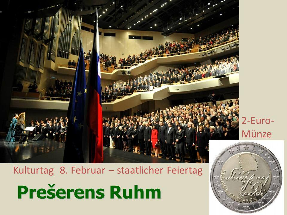 Prešerens Ruhm Kulturtag 8. Februar – staatlicher Feiertag 2-Euro- Münze