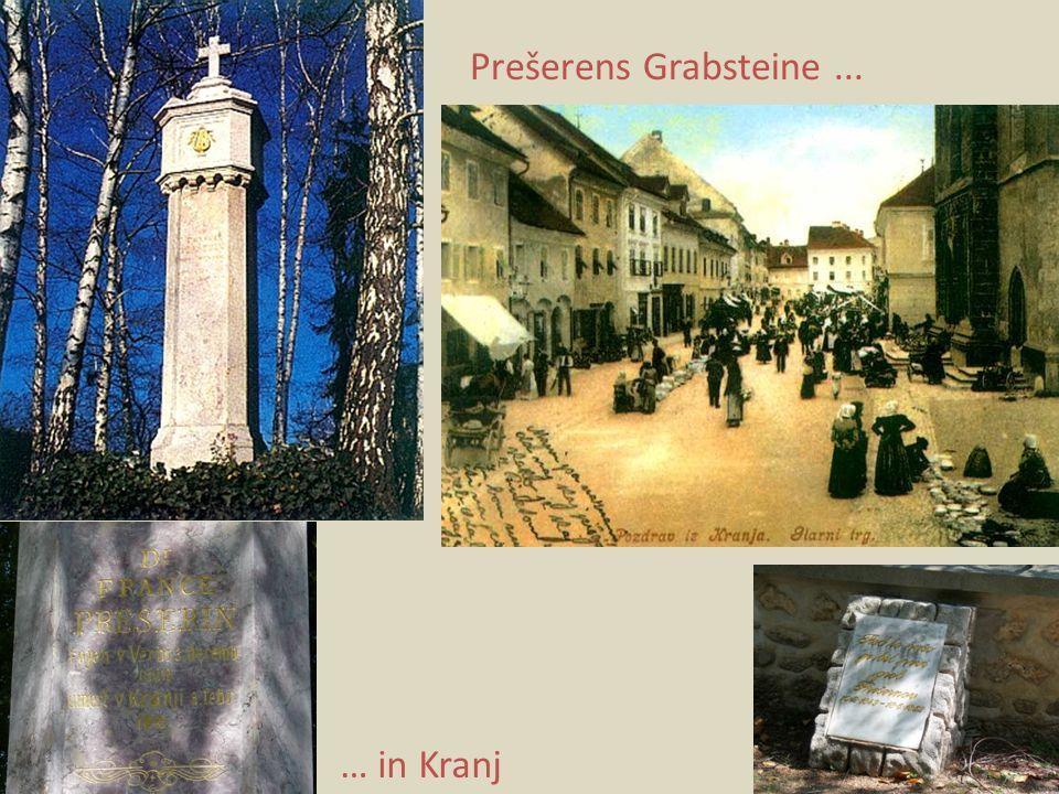 Prešerens Grabsteine... … in Kranj