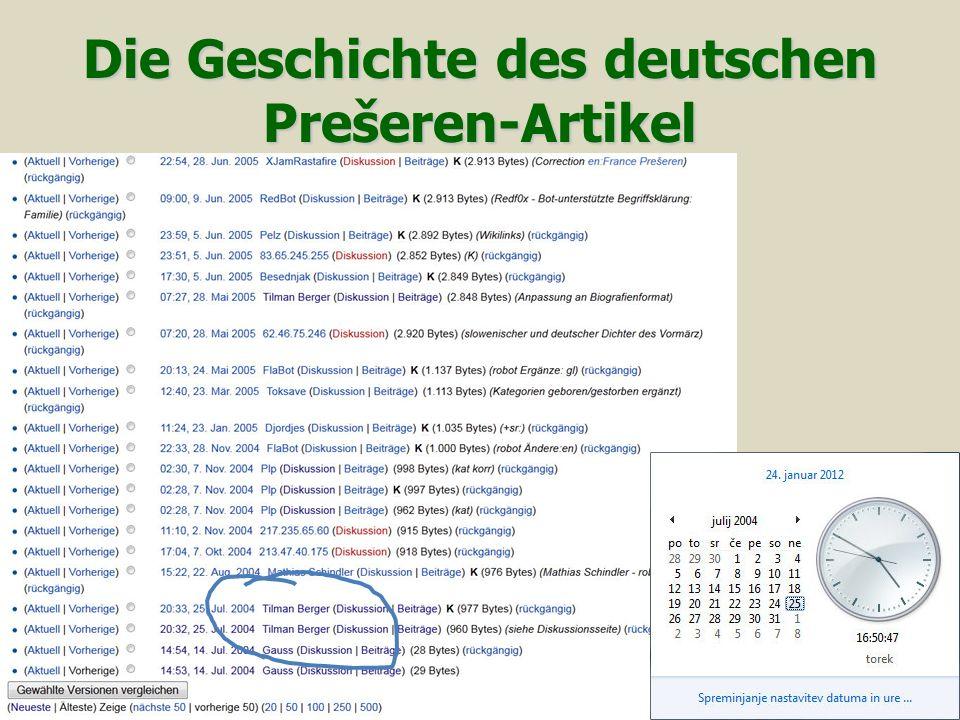 Die Geschichte des deutschen Prešeren-Artikel