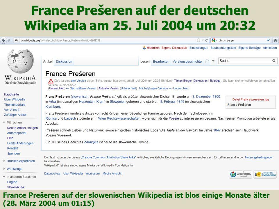 France Prešeren auf der deutschen Wikipedia am 25.