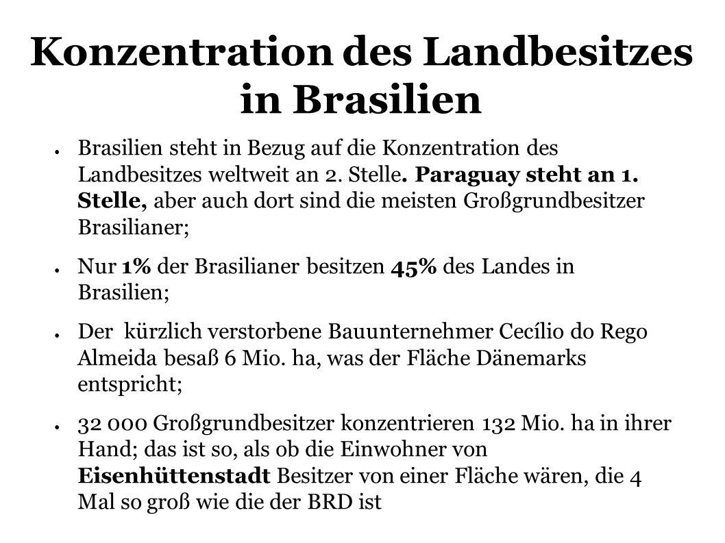 Brasilien steht in Bezug auf die Konzentration des Landbesitzes weltweit an 2.