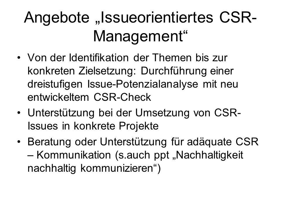Angebote Issueorientiertes CSR- Management Von der Identifikation der Themen bis zur konkreten Zielsetzung: Durchführung einer dreistufigen Issue-Pote