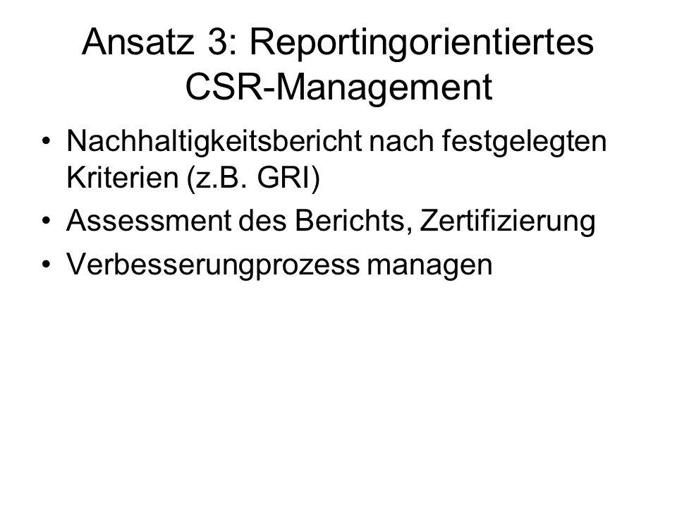 Ansatz 3: Reportingorientiertes CSR-Management Nachhaltigkeitsbericht nach festgelegten Kriterien (z.B. GRI) Assessment des Berichts, Zertifizierung V