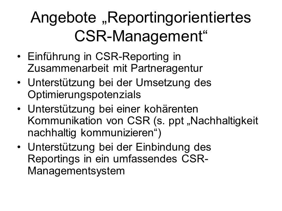 Angebote Reportingorientiertes CSR-Management Einführung in CSR-Reporting in Zusammenarbeit mit Partneragentur Unterstützung bei der Umsetzung des Opt