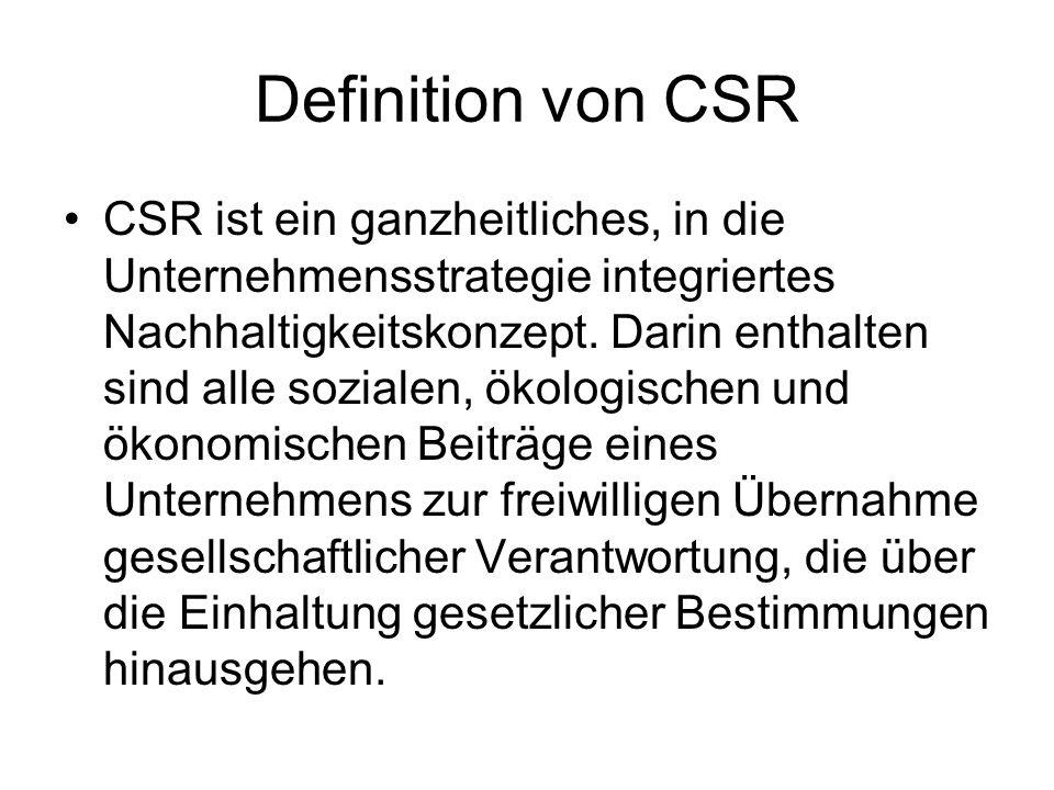 Definition von CSR CSR ist ein ganzheitliches, in die Unternehmensstrategie integriertes Nachhaltigkeitskonzept. Darin enthalten sind alle sozialen, ö