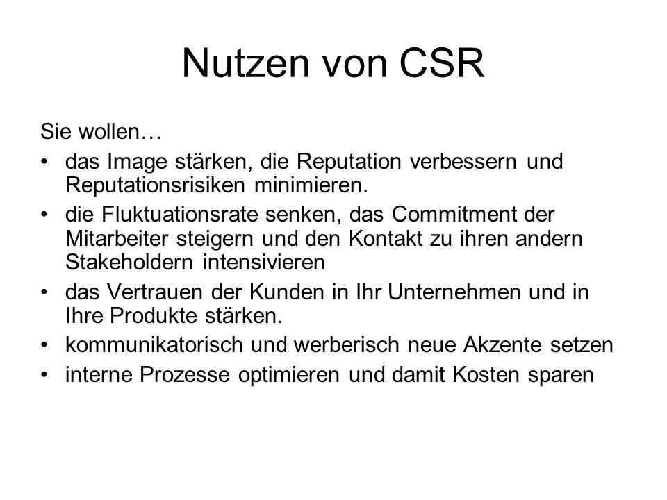 Nutzen von CSR Sie wollen… das Image stärken, die Reputation verbessern und Reputationsrisiken minimieren. die Fluktuationsrate senken, das Commitment