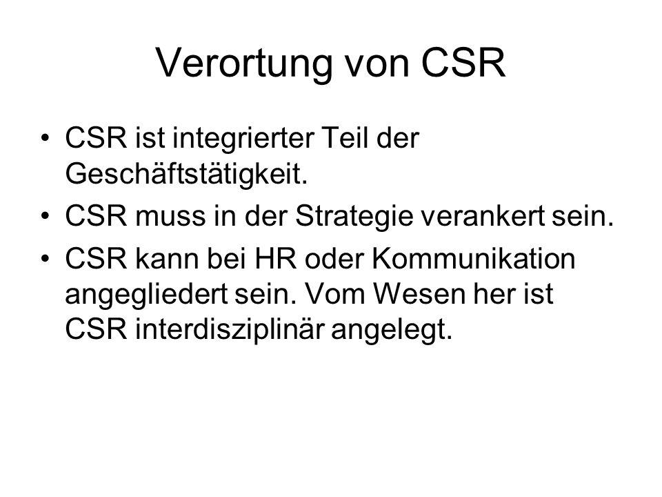 Verortung von CSR CSR ist integrierter Teil der Geschäftstätigkeit. CSR muss in der Strategie verankert sein. CSR kann bei HR oder Kommunikation angeg