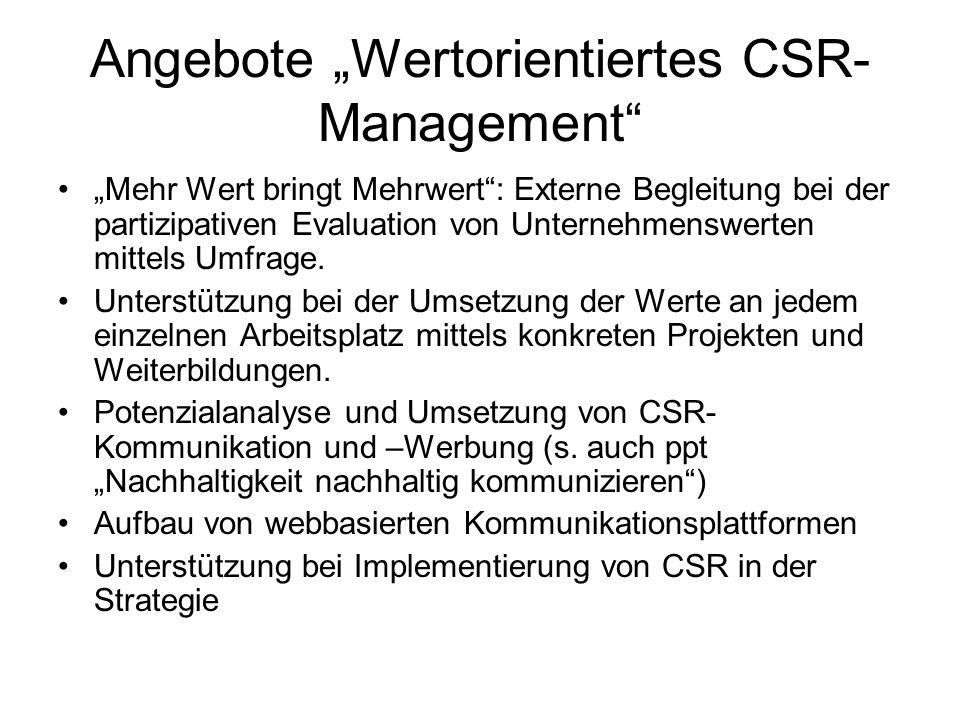 Angebote Wertorientiertes CSR- Management Mehr Wert bringt Mehrwert: Externe Begleitung bei der partizipativen Evaluation von Unternehmenswerten mitte