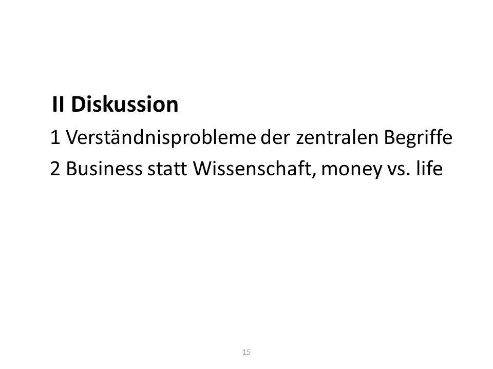 II Diskussion 1 Verständnisprobleme der zentralen Begriffe 2 Business statt Wissenschaft, money vs.