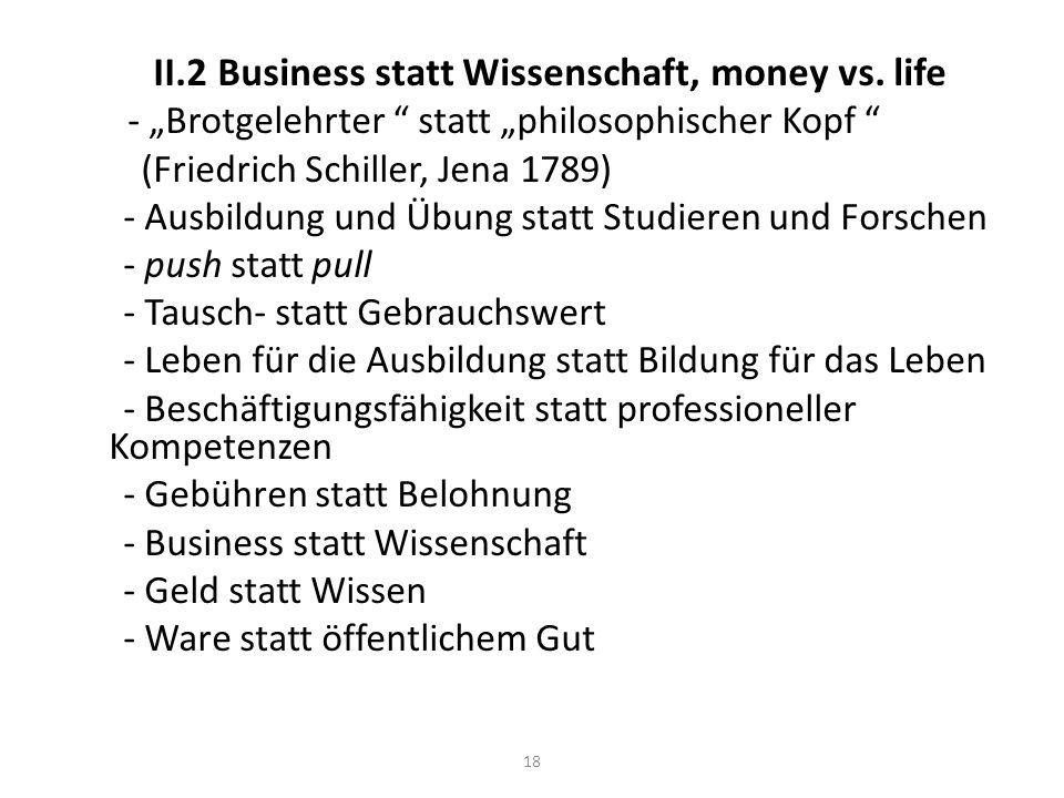 II.2 Business statt Wissenschaft, money vs.