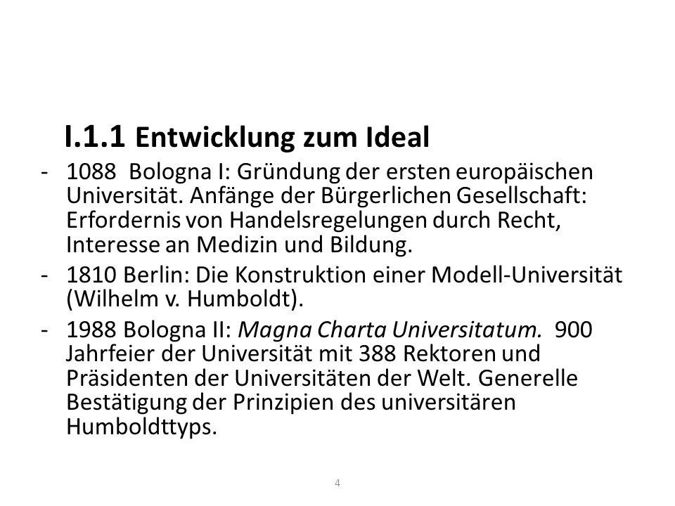 I.1.1 Entwicklung zum Ideal -1088 Bologna I: Gründung der ersten europäischen Universität.