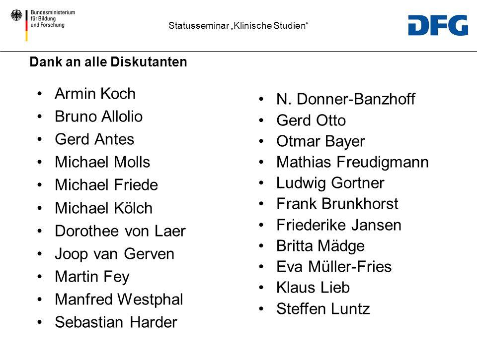 Statusseminar Klinische Studien Dank an alle Diskutanten Armin Koch Bruno Allolio Gerd Antes Michael Molls Michael Friede Michael Kölch Dorothee von L