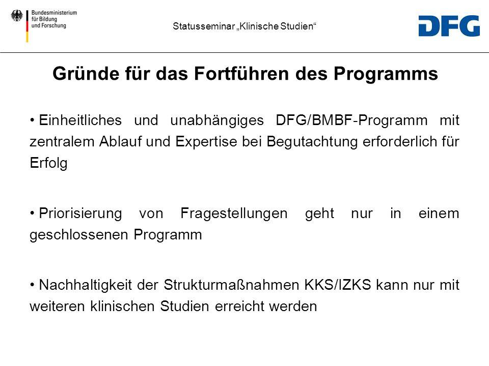Statusseminar Klinische Studien Einheitliches und unabhängiges DFG/BMBF-Programm mit zentralem Ablauf und Expertise bei Begutachtung erforderlich für