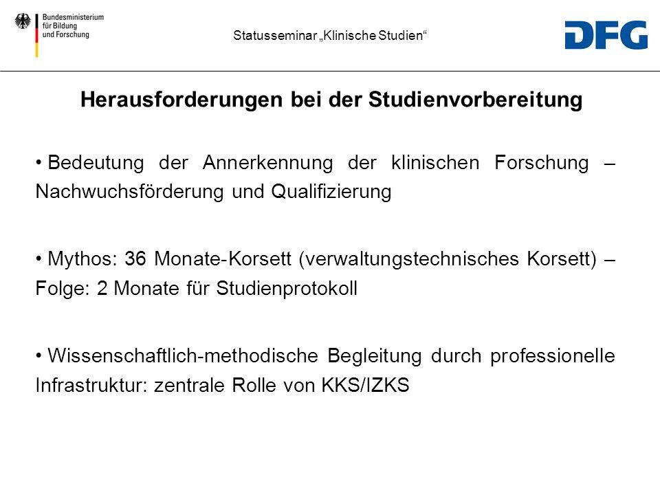 Statusseminar Klinische Studien Beantragte und bewilligte Mittel von Call 2 bis 7.