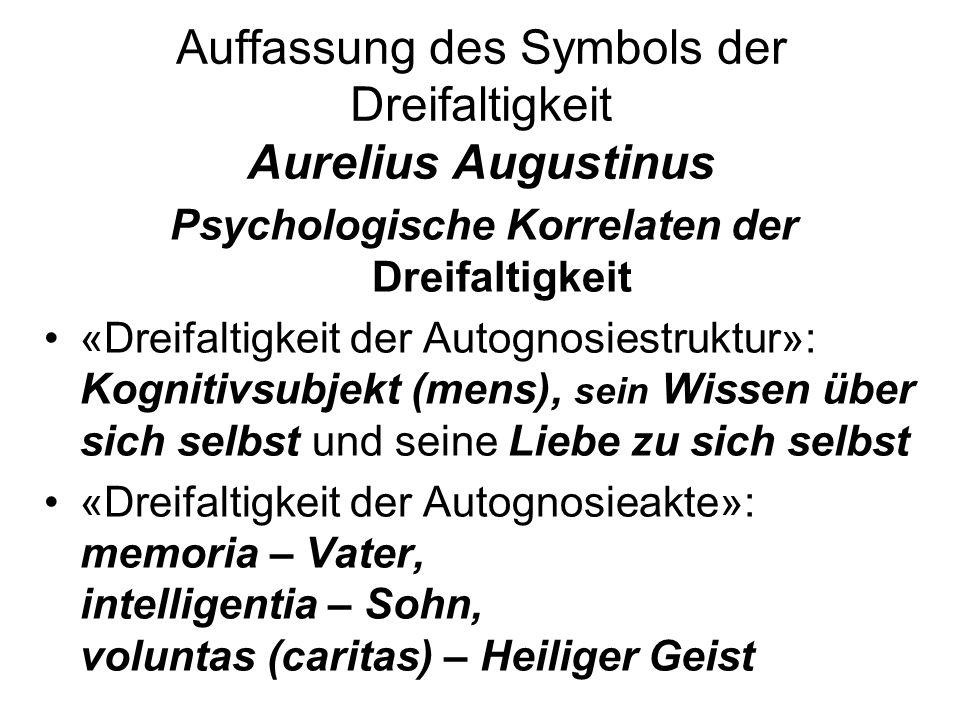 Auffassung des Symbols der Dreifaltigkeit Aurelius Augustinus Psychologische Korrelaten der Dreifaltigkeit «Dreifaltigkeit der Autognosiestruktur»: Ko