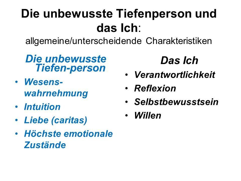 Die unbewusste Tiefenperson und das Ich: allgemeine/unterscheidende Charakteristiken Die unbewusste Tiefen-person Wesens- wahrnehmung Intuition Liebe