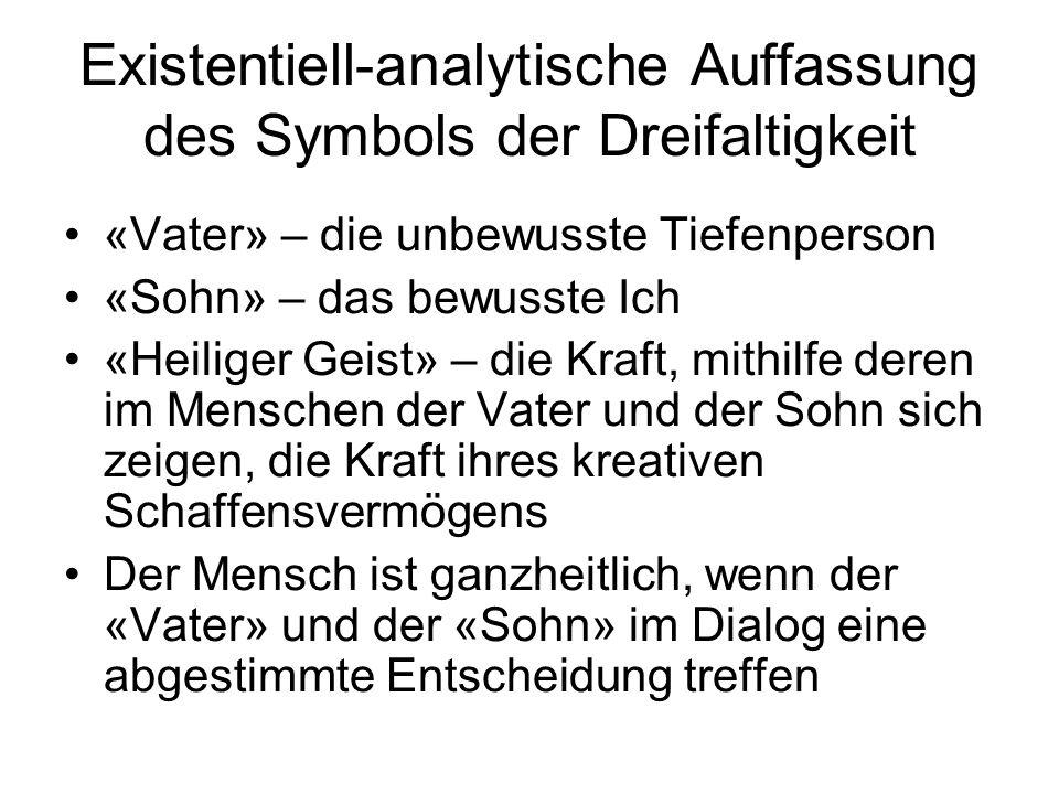 Existentiell-analytische Auffassung des Symbols der Dreifaltigkeit «Vater» – die unbewusste Tiefenperson «Sohn» – das bewusste Ich «Heiliger Geist» –