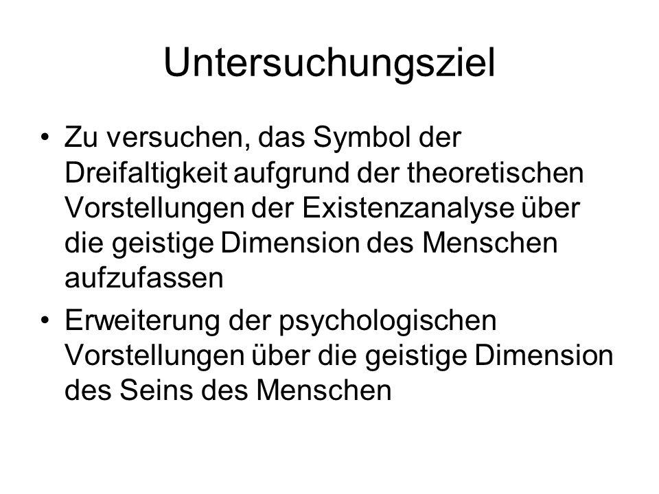 Untersuchungsziel Zu versuchen, das Symbol der Dreifaltigkeit aufgrund der theoretischen Vorstellungen der Existenzanalyse über die geistige Dimension