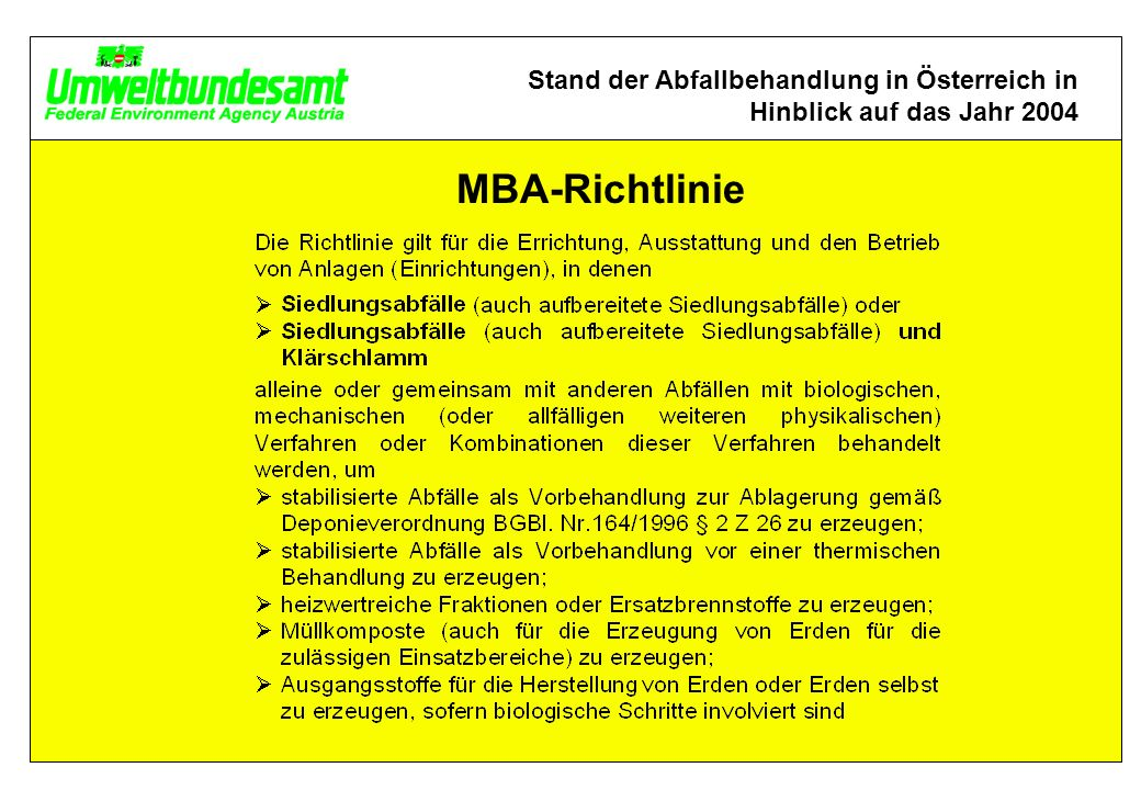 Stand der Abfallbehandlung in Österreich in Hinblick auf das Jahr 2004 MBA-Richtlinie