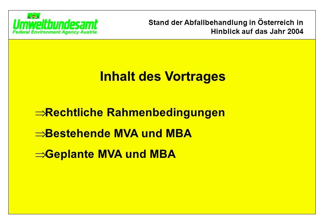 Inhalt des Vortrages Rechtliche Rahmenbedingungen Bestehende MVA und MBA Geplante MVA und MBA