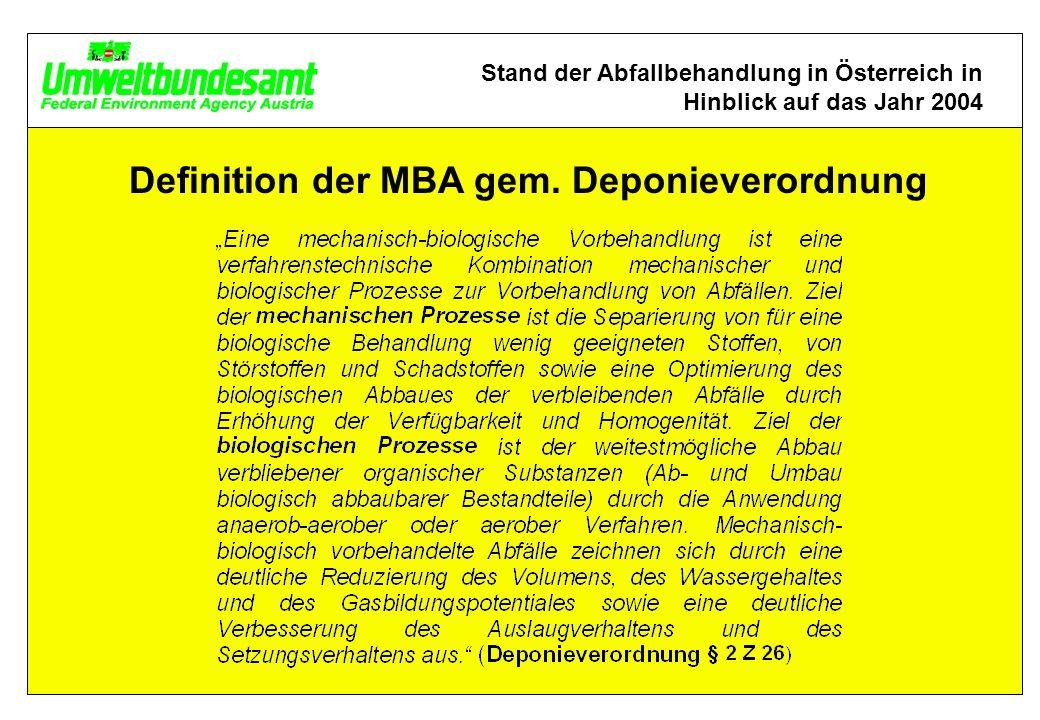 Stand der Abfallbehandlung in Österreich in Hinblick auf das Jahr 2004 Definition der MBA gem.