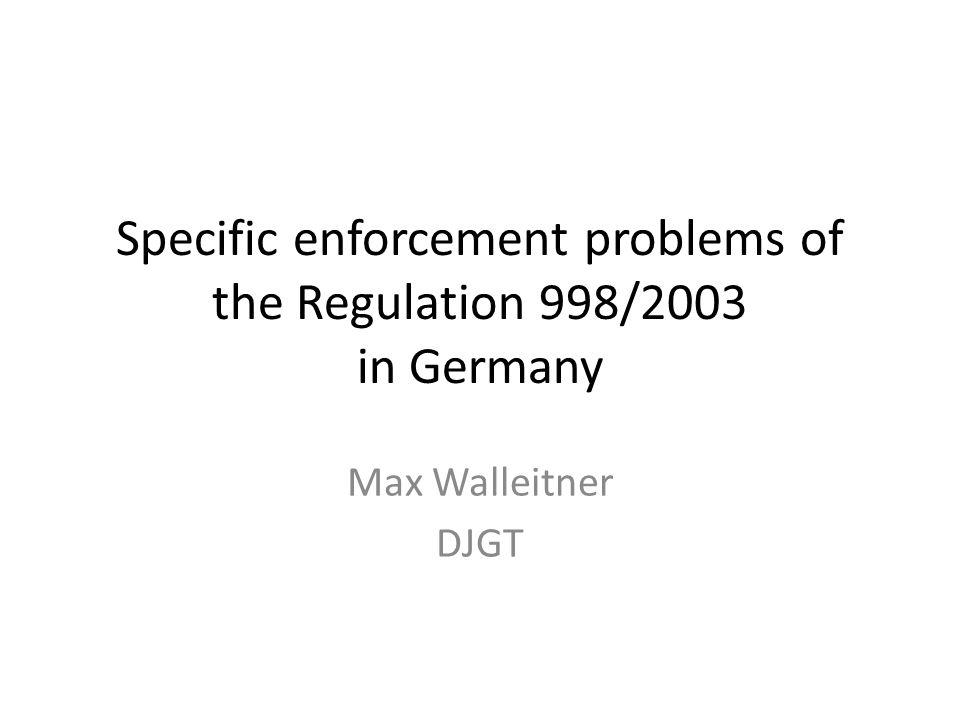 Specific enforcement problems of the regulation 998/2003 in Germany Der Vortrag zeigt die beim Vollzug der Verordnung (EG) 998/2003 in Deutschland entstandenen (rechtlichen) Probleme infolge einer unpräzisen und nicht definierten Formulierung in der VO.